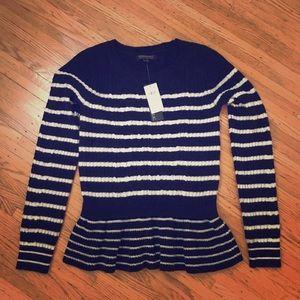 Banana Republic Peplum Sweater XS Navy / Cream